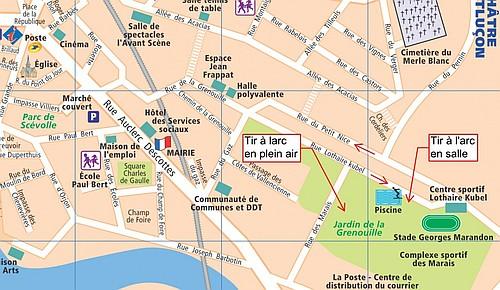 Localisation de la salle et du terrain extérieur de tir à l'arc d'Argenton sur Creuse