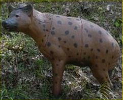 Cible en mousse représentant une hyène pour le parcours 3D
