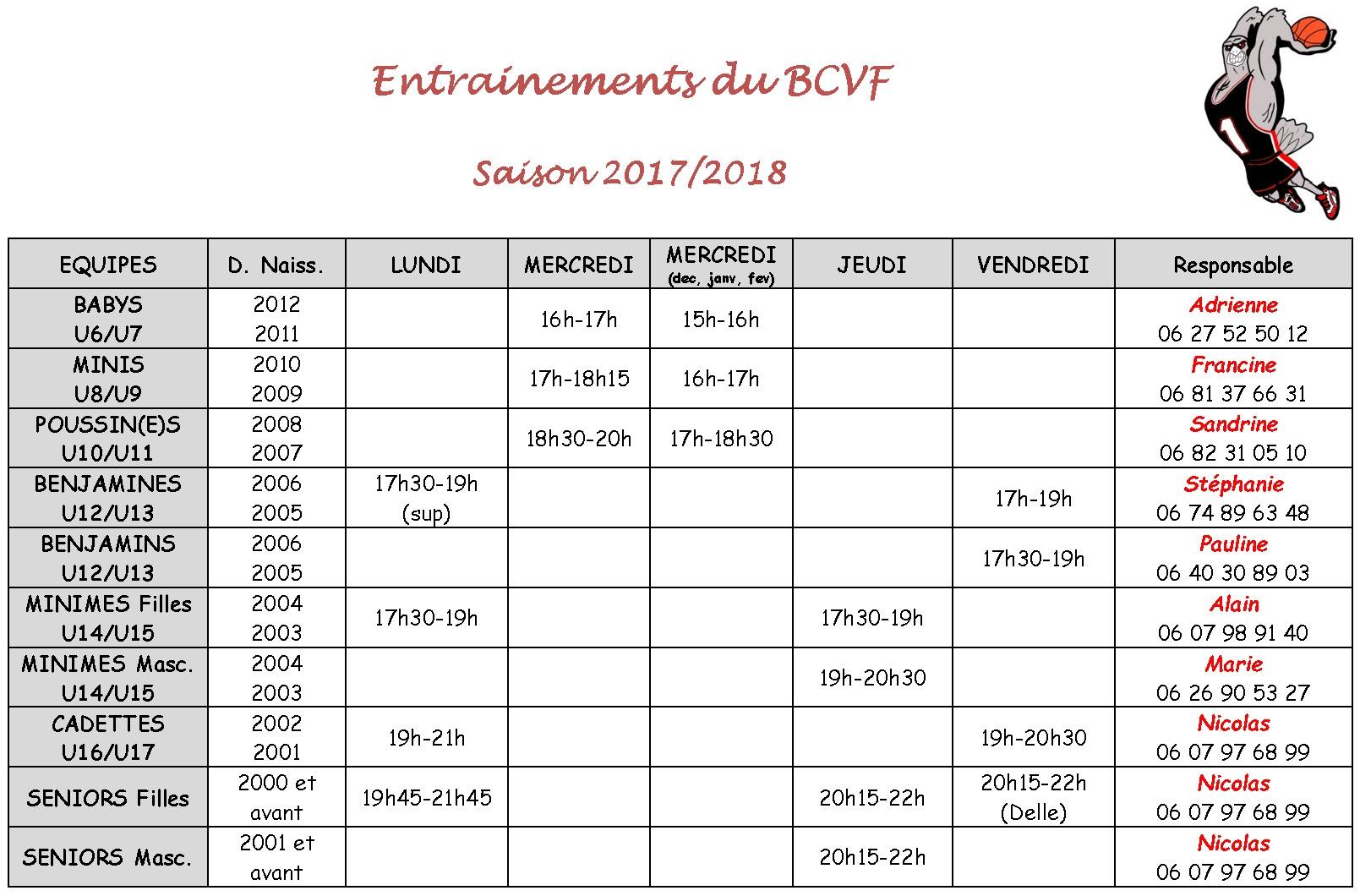 Nos horaires 2017-18