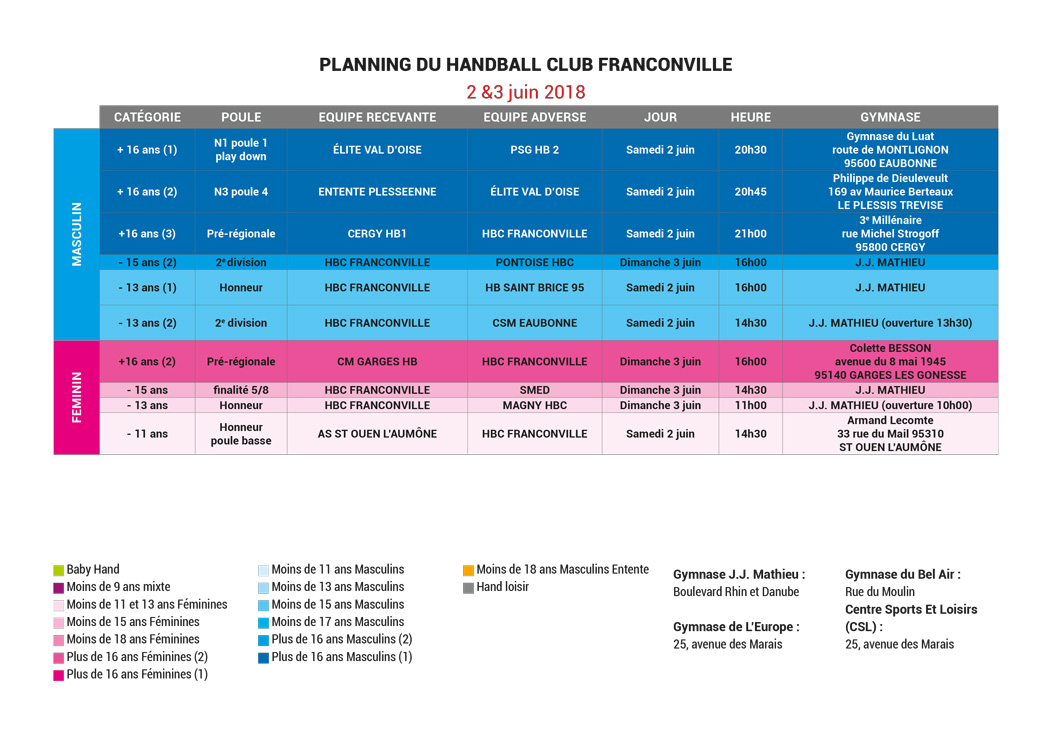 Planning Match du 2 et 3 juin 2018