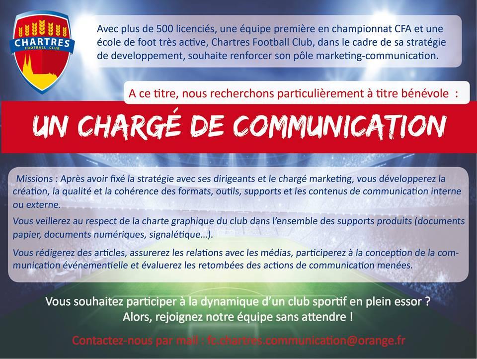 Le FC Chartres recherche un Chargé de Communication bénévole