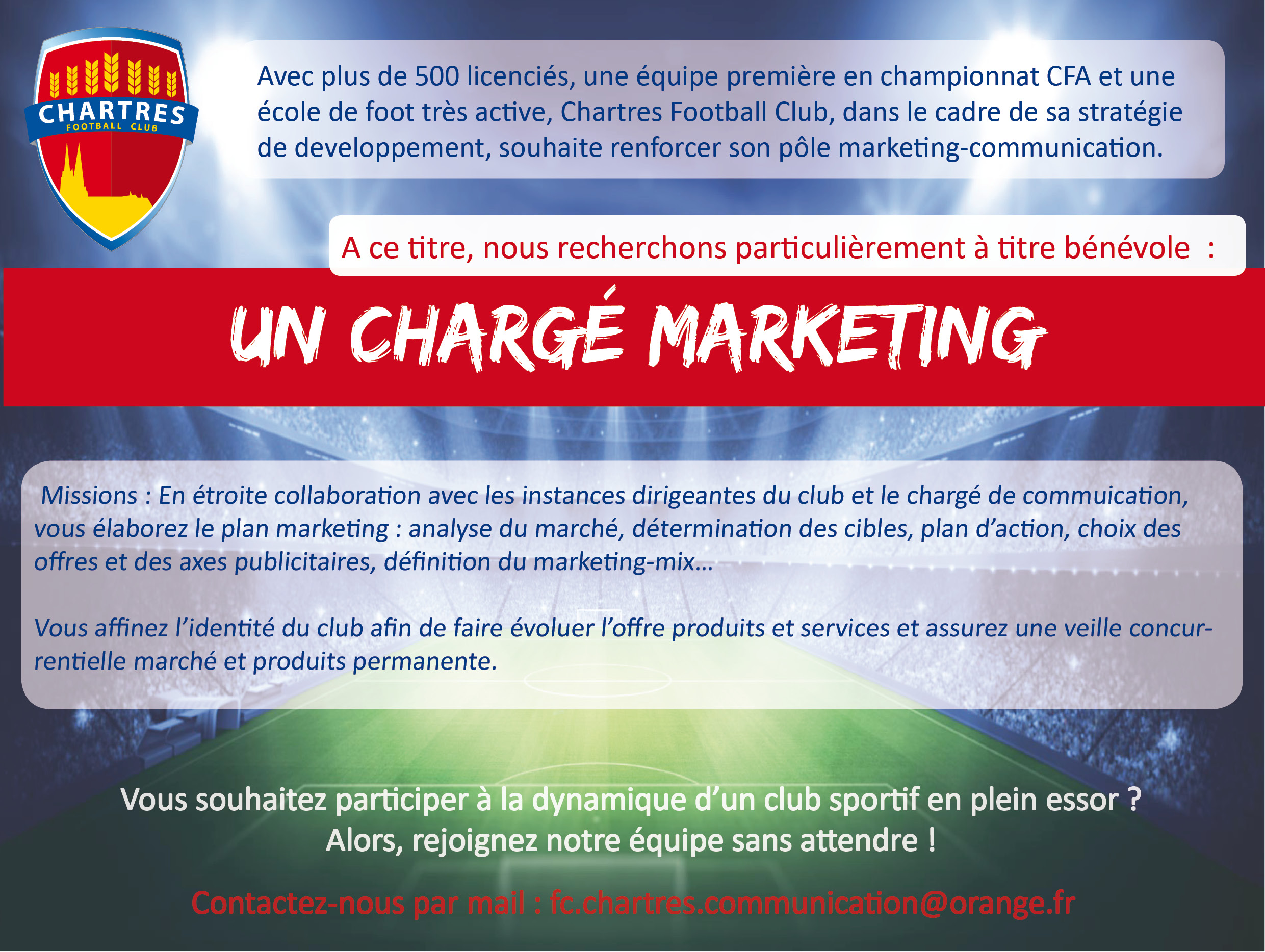 Le FC Chartres recherche un Chargé de Markéting bénévole