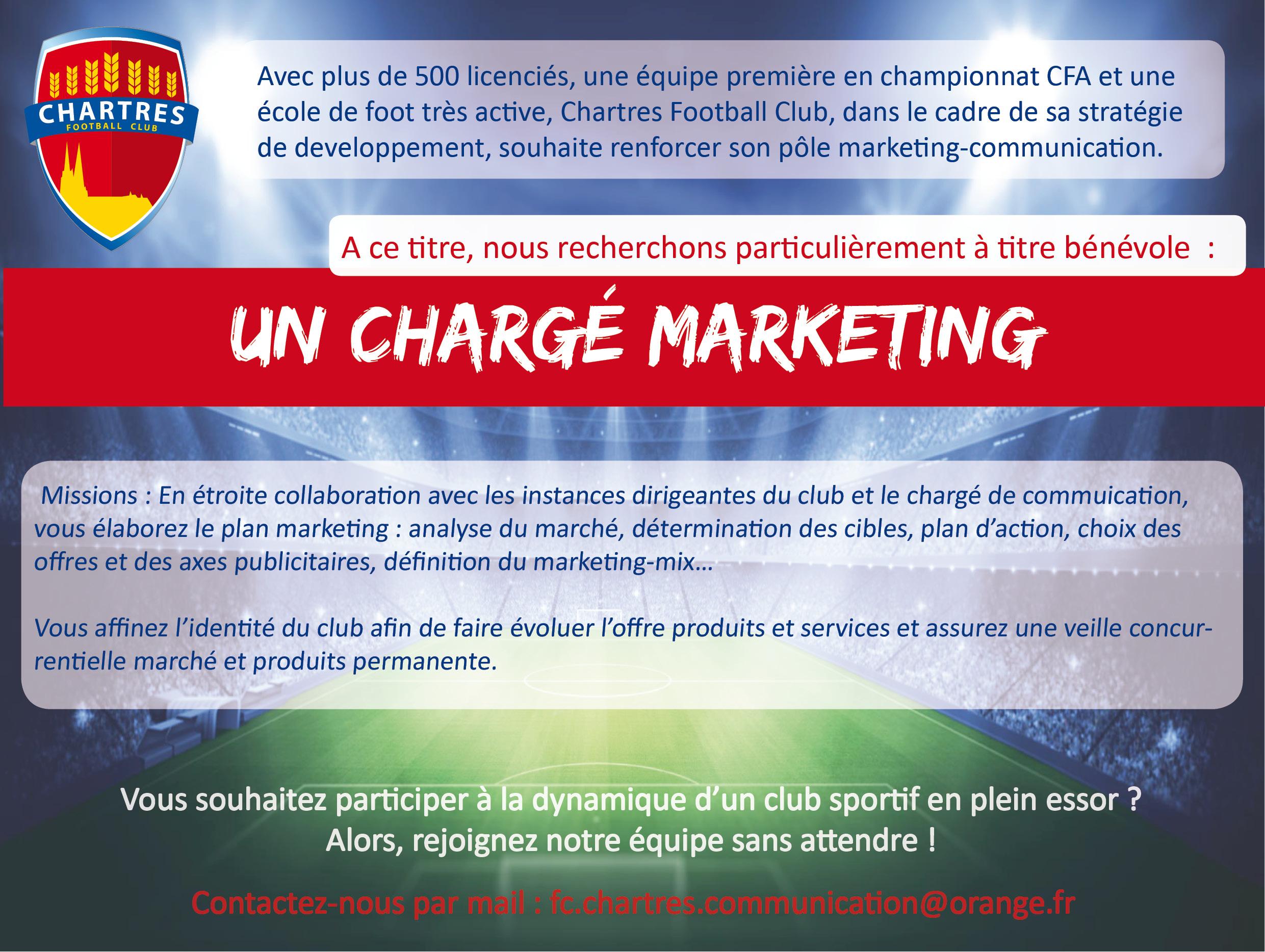 Le FC Chartres recherche un chargé de Marketing bénévole