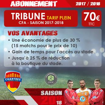 Abonnement FC Chartres Saison 2017-2018 / Tribune Tarif Plein / 70 euros