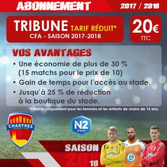 Abonnement FC Chartres Saison 2017-2018 / Tribune Tarif Réduit / 20 euros