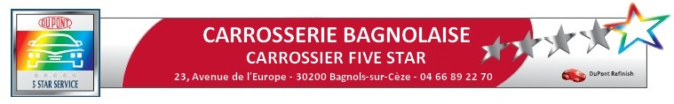 Carrosserie BAGNOLAISE   M. Claude JAUSSAUD  Tel.: 04 66 89 22 70  Fax: 04 66 89 22 71carrosserie.bagnolaise@wanadoo.fr