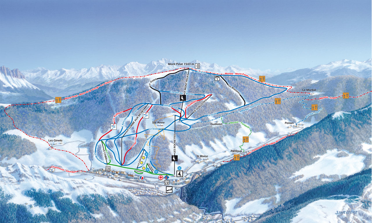 plan des pistes Aillons-Margériaz 1000