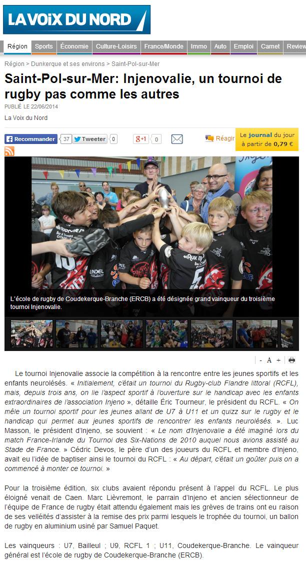 Article La Voix du Nord - Injenovalie 2014